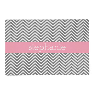 Pastel Pink and Gray Chevrons Custom Name Laminated Place Mat