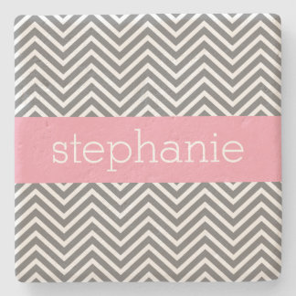 Pastel Pink and Gray Chevrons Custom Name Stone Coaster