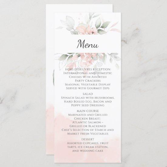 Pastel Pink and Green Roses Wedding Menu