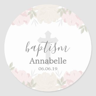 Pastel Pink and Ivory Floral Baby Baptism Classic Round Sticker