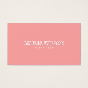 Professional Business Pastel Pink and Mint Babysitter Nanny Business Card