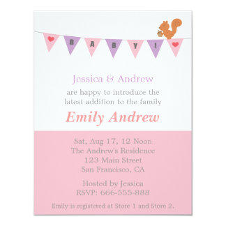 Pastel Pink and Purple, Bunting Flag Baby Shower Card