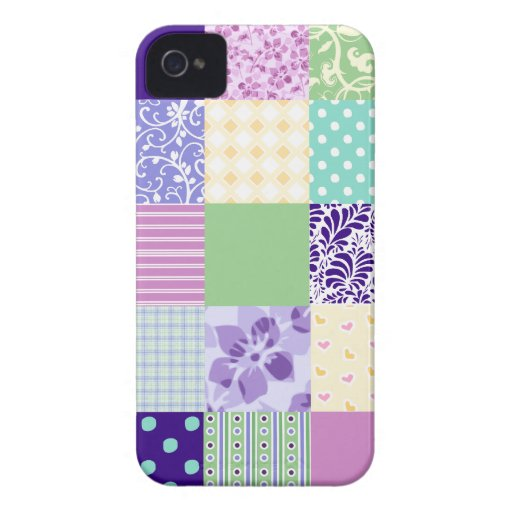 Pastel Pink and Purple Girly pattern squares iPhone 4 Cases