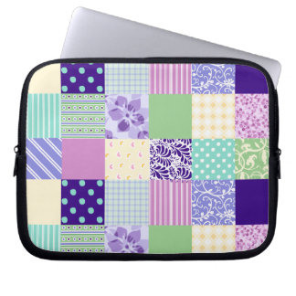Pastel Pink and Purple Girly pattern squares Laptop Sleeve