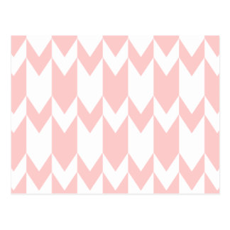 Pastel Pink and White Chevron Pattern. Postcard
