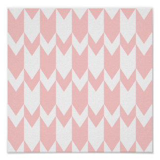 Pastel Pink and White Chevron Pattern. Poster