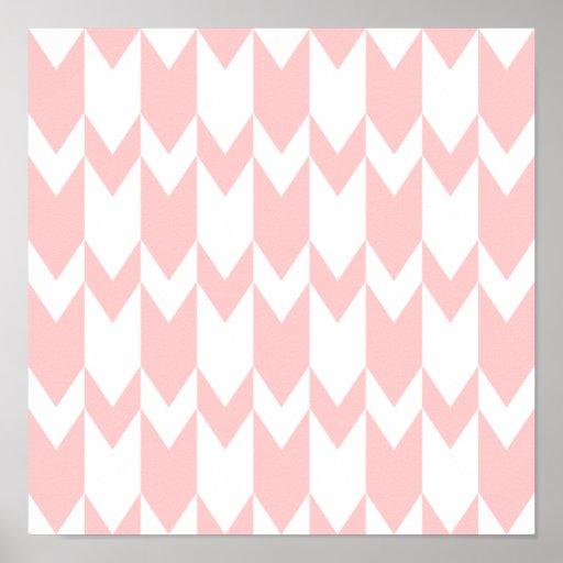 Pastel Pink and White Chevron Pattern. Print