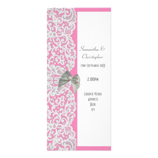 Pastel pink and white lace church wedding program