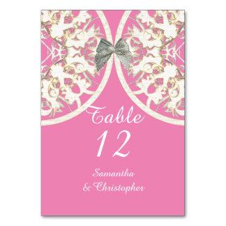 Pastel pink and white lace filigree damask wedding card