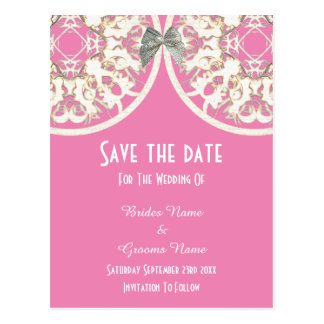 Pastel pink and white lace filigree  save the date postcard