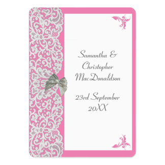 Pastel pink and white lace wedding thank you tag large business cards (Pack of 100)