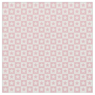Pastel pink and white square and stars fabric