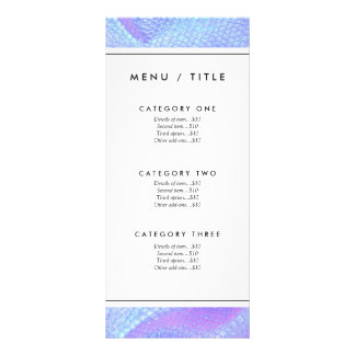 Pastel pink, aqua and lilac mermaid scale menu