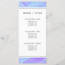 Pastel pink, aqua and lilac mermaid scales menu