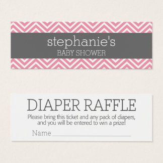 Pastel Pink Baby Shower Game Diaper Raffle Mini Business Card
