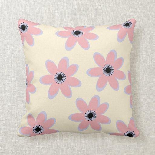 Pastel Pink Big Flowers American MoJo Pillows