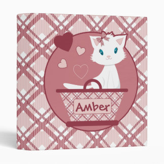 Pastel Pink Binder with cute white kitten basket