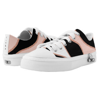 pastel pink, black and rose gold glitter pattern Low-Top sneakers