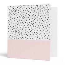 Pastel pink black watercolor polka dots pattern 3 ring binder