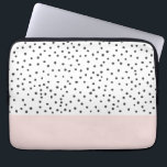 "Pastel pink black watercolor polka dots pattern laptop sleeve<br><div class=""desc"">Pastel pink black watercolor polka dots pattern.A unique hand painted cute black polka dots design on white background. Get this original hand made girly pattern design for her or anyone on any occasion. The perfect gift idea.</div>"