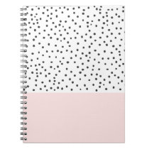 Pastel pink black watercolor polka dots pattern notebook