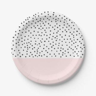 Pastel pink black watercolor polka dots pattern paper plate