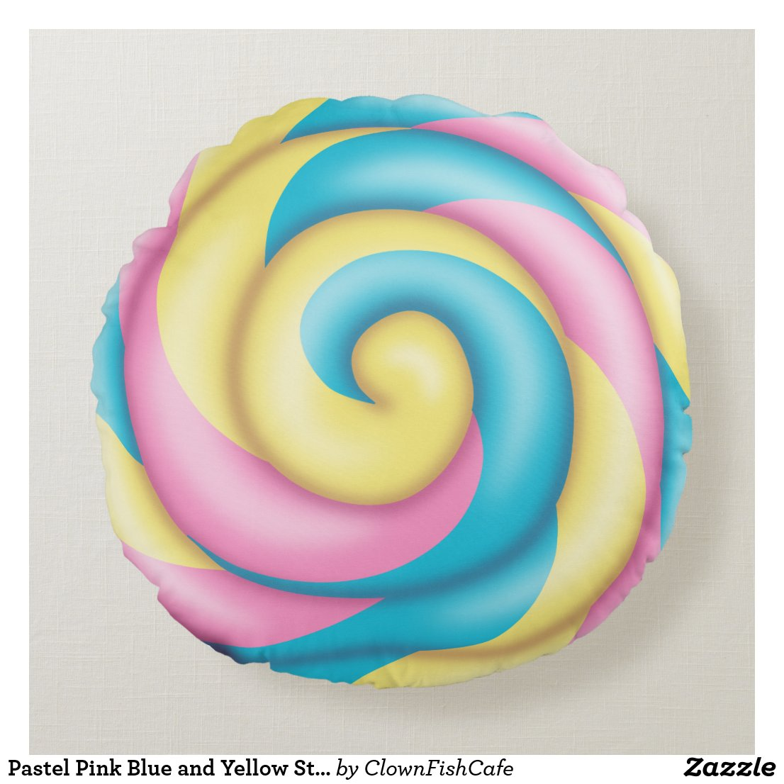 Pastel Pink Blue and Yellow Striped Lollipop Round Pillow