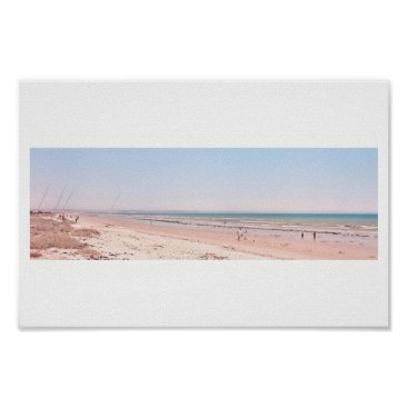 Beach Themed Pastel Pink Blue Beach Ocean Sea Walking Poster