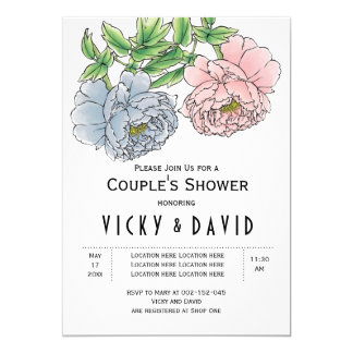 Pastel pink & blue peonies wedding couples shower card