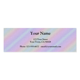 Pastel Pink blue Rainbow Stripes Mini Business Card