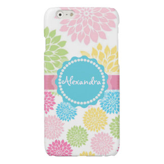 Pastel Pink, blue, Yellow Dahlia flowers name Glossy iPhone 6 Case