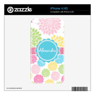 Pastel Pink, blue, Yellow Dahlia flowers name iPhone 4S Skins