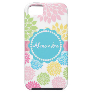 Pastel Pink, blue, Yellow Dahlia flowers name iPhone SE/5/5s Case