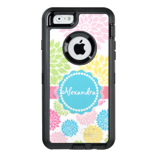 Pastel Pink, blue, Yellow Dahlia flowers name OtterBox Defender iPhone Case