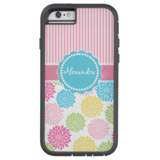 Pastel Pink, blue, Yellow Dahlia flowers name Tough Xtreme iPhone 6 Case