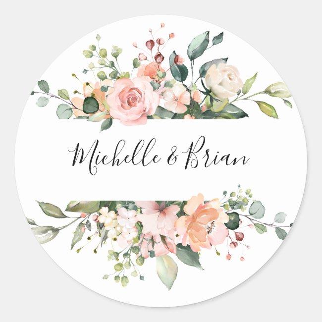 Pastel Pink Blush Rose Floral Botanical Wedding Classic Round Sticker