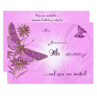 Pastel Pink Butterfly Birthday Invitation Card