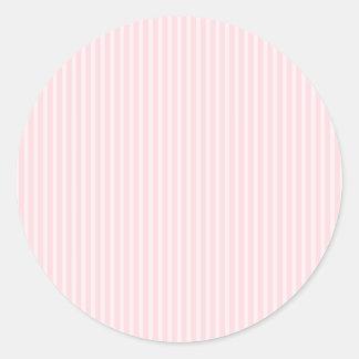 Pastel Pink Candy Stripes. Classic Round Sticker