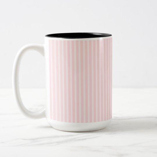 Pastel Pink Candy Stripes. Two-Tone Coffee Mug
