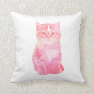 Pastel Pink Cat Pillow