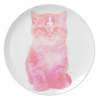 Pastel Pink Cat Plate