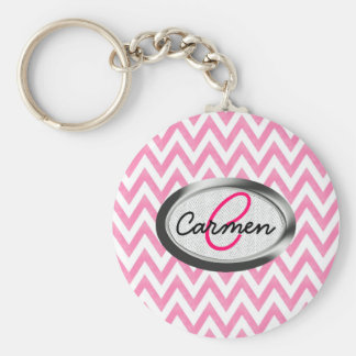 Pastel Pink Chevron Monogram Keychain