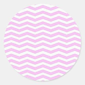 Pastel Pink  Chevron Stripes Round Sticker Pegatina Redonda