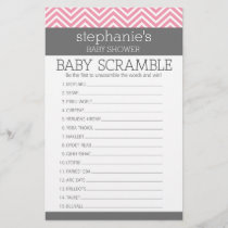 Pastel Pink Chevrons Baby Scramble Shower Game