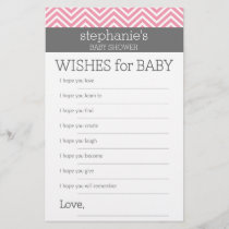 Pastel Pink Chevrons Baby Wishes Shower Game