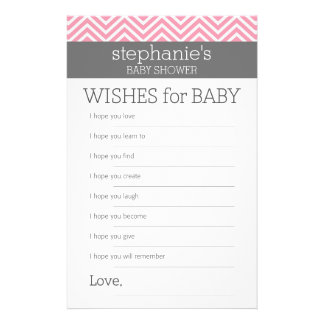 "Pastel Pink Chevrons Baby Wishes Shower Game 5.5"" X 8.5"" Flyer"