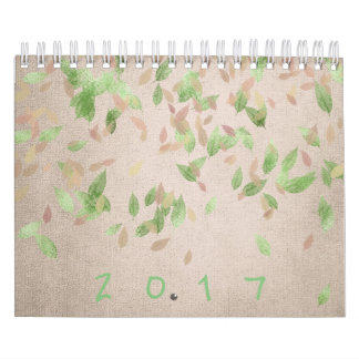 Pastel Pink Coral Rose Mint Leafs Calendar