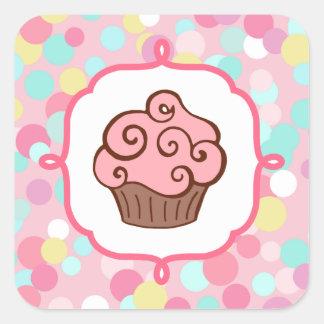 Pastel Pink Cupcake Stickers