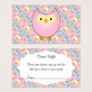 Pastel Pink Cute Owl Baby Diaper Raffle Business Card