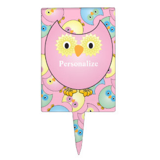 Pastel Pink Cute Owl Baby Shower Theme Cake Topper